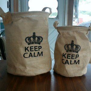 Keep Calm Burlap CollapsibleBins